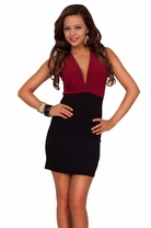 Deep V-Neck Sleeveless Keyhole Back Two Tone Sexy Trendy Mini Party Club Dress