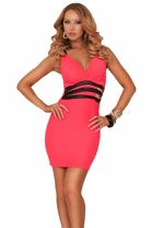 Deep V-neck Sleeveless Leatherette Strap Waist Cut Out Panel Club Short Dress
