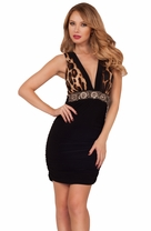Deep V Neckline Beaded Empire Waist Sleeveless Fitted Mini Leopard Party Dress