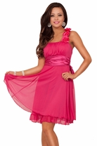 Designer Fabric Broche Embellish Gathered Empire Flowy Bridesmaid Party Dress