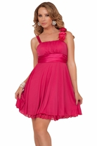 Designer Fabric Broche Embellish Gathered Empire Flowy Evening Prom Party Dress