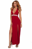 Double Slit Halter Rhinestone Empire Waist Evening Maxi Party Bridesmaid Dress