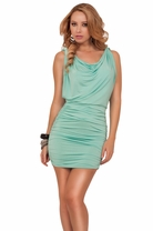 Drape Cowl Neck Sleeveless Drop Waist Ruched Fitted Club Party Short Mini Dress