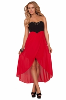 Edgy Strapless Padded Sweetheart Metal Studs Garter Straps Back High Lows Dress