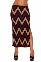 Elastic Band Folded Over Printed Colorful Comfortable Boho Slit Long Maxi Skirt