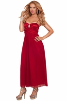 Empire Waist Satin Chiffon Spaghetti Strap Rhinestone Bridesmaid Elegant Dress