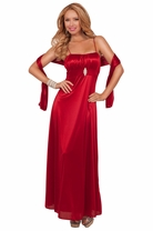 Empire Waist Strapless Rhinestone Broche Formal Bridesmaid Elegant Maxi Dress