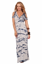 Empire Waist V-Neck Peak-a-boo Shoulder Tie Dye Summer Bohemian Maxi Long Dress