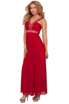 Empire Waist V-Neck V-strap Sequins Embellished Bridesmaid Elegant Long Dress