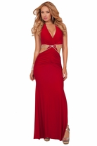 Exotic Designer Sexy Long Halter Rhinestone Backless Formal Evening Party Gown