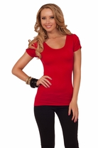 Fitted Ruched Semi Cap Sleeve Stretchy Ripped Back Sexy Casual Top