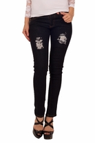 Fitted Women's Sexy Clubwear Embellished Back 5 Pocket Mini Skinny Jeggings Jeans