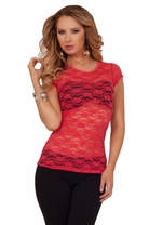 Floral Lace Short Cap Sleeves Sheer Sexy Fitted Classic Fashion Crochet Shirt