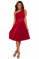 Flowy Bridesmaid Flower Accented Holiday One Shoulder Empire Waist Formal Dress
