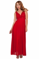 Full Length Elegant Ball Gown Formal Pleated Special Occasion Halter Party Dress