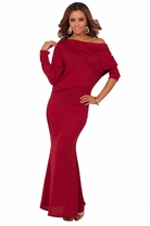Full Length Maxi Loose Evening Party Off Shoulder Blouson Sexy Seamless Dress