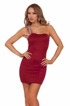Gem Strapped Mini Party Cocktail Fitted Bodycon Holiday Celebration Dress