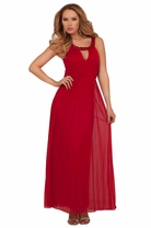 Goddess Rhinestone Round Neck Sleeveless Full Length Empire Waist Formal Dress