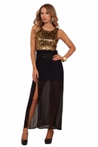 Gold Sequins Maxi Cocktail Belted Full Length Party Chiffon Sheer Dress