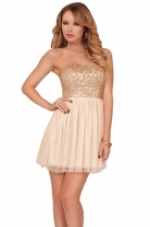 Gold Sequins Strapless Baby Doll Party Homecoming Formal Flowy Sparkling Dress