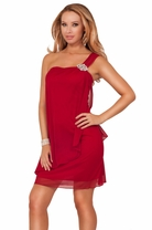 Greek Goddess Inspired One Shoulder Loose Fit Rhinestone Broche Party Mini Dress