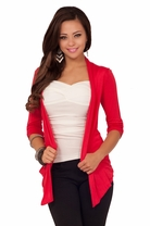Half Sleeve Ruched Open Style Waist Length Pocket Shrug Cardigan Wrap Jacket