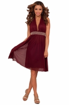 Halter Bridesmaid Empire Waist Rhinestone Accent Halter Neck Holiday Party Dress