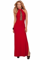 Halter High Neck Button Closure Backless Mesh Cleavage Fitted Slit Maxi Dress