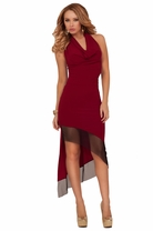 Halter Length Deep V Neckline Draped Special Occasion Empire Waist Sexy Dress