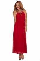 Halter Pearled Neckline Empire Waist Layer Sheer Evening Bridesmaid Party Dress