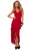 Halter Soft Cups Backless Three Sister Ruffle Accent High Low Long Evening Gown