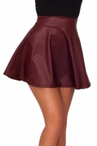Heartbreaker Mini Leatherette Biker Sexy Mini Party Fit Flare Flowy Skirt