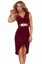 High Low Sexy Classic Elegant Cocktail Formal Gold Metal Belt Fitted Dress
