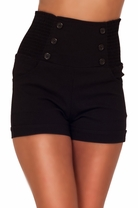 High Waisted Sophisticated Trendy Chic Front Button Vintage Inspired Shorts