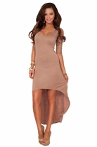 Hot Fitted Lace 3/4 Sleeve Scoop Neck Body Hugging High Low Party Casual Dress