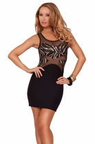 Hot Sleeveless Mesh Panel Chevron Bodice Sequins Design Fitted Party Short Dress
