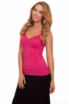 Hot Sleeveless V-neck Lace Ruched Set In Stitch Seamless Bodycon Fitted Tank Top