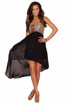 Hot Strapless Sweetheart Sheer High Low Hem Peekaboo Formal Evening Party Dress