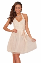 Ivory Halter Tulle Ruched Mini Fit and Flare Party Dress