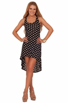 Junior Black White Polka Dots Retro High Low Round Sleeveless Casual Neckline