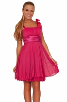 Junior Broche Embellish Gathered Empire Flowy Cute Teen Evening Prom Party Dress