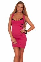 Junior Colour Block Fitted Cross Back Cocktail Teenage Two-Tone Mini Party Dress