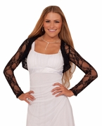 Junior Floral Lace Cropped Bolero Long Sleeves Mesh Homecoming Prom Party Shrug