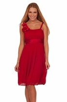 Junior Floral Strap Bridesmaid Homecoming Empire Waist Prom Teen Party Dress