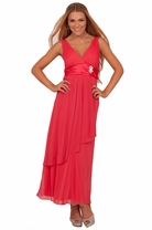 Junior Full Length Long Gown Sleeveless Empire Waist Rhinestone Brooch Dress