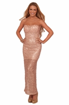 Junior Prom Bridesmaid Homecoming Formal Sequin Maxi Long Gown Evening Dress