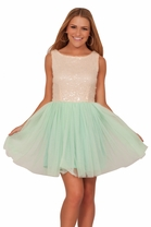 Junior Round Neck Sleeveless Tutu Sequin Tulle Party Homecoming Mini Dress