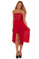 Junior Sequin High Low Strapless Homecoming Prom Teen Party Quincea�era Dress