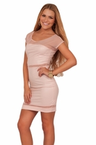 Junior Sheer Shoulder Cap Sleeves Leatherette Retro Teen Mesh Panel Dance Dress