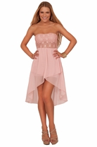 Junior Strapless Bridesmaid Sheer Lace Accent High Low Chic Homecoming Dress